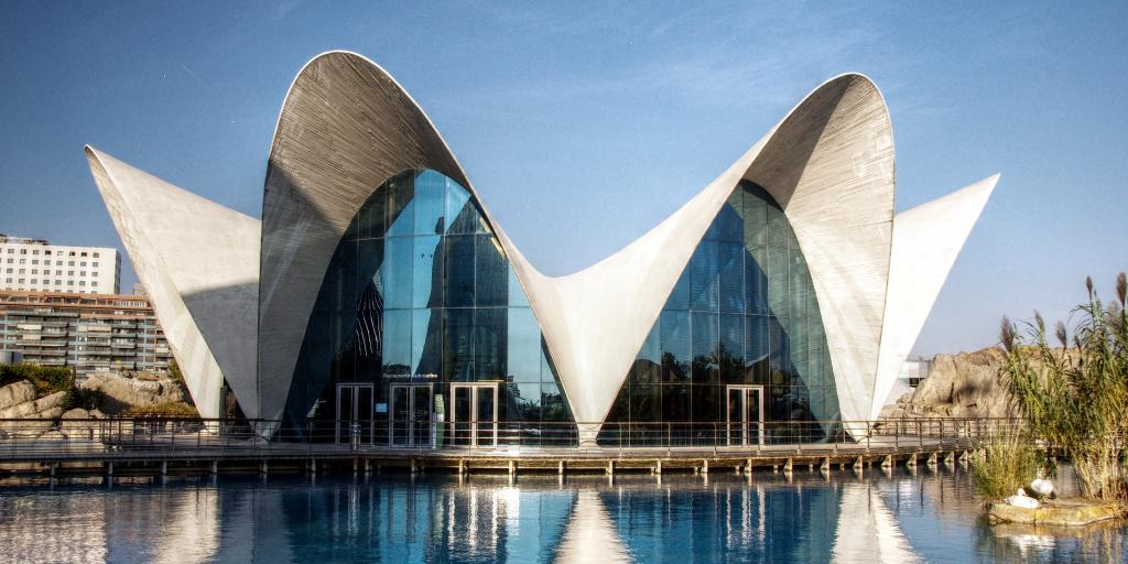 Valencia's Oceanografic aquarium and its reflection on the water