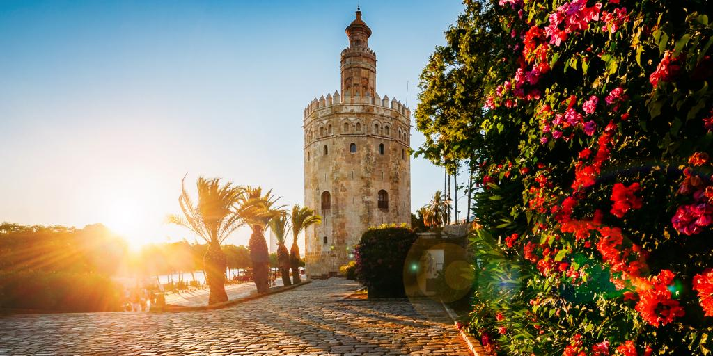 Torre del Oro on the Guadalquivir River in Seville, Spain