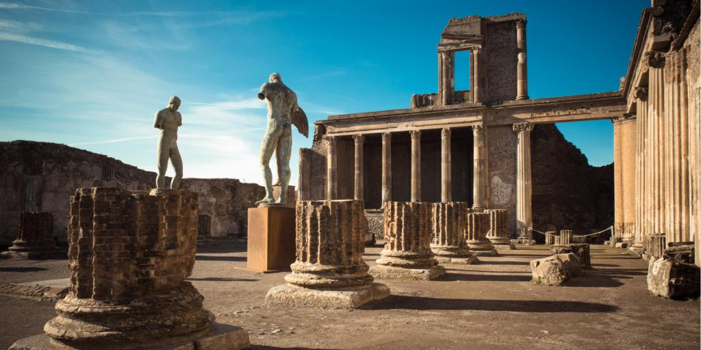 Ruins of the ancient city of Pompeii near Naples, Italy, on a sunny day