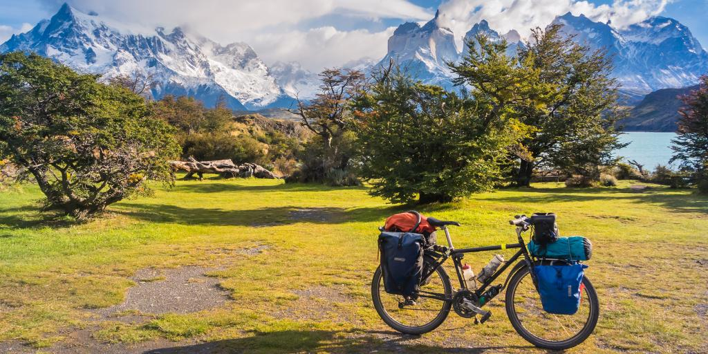 A bike packed with things parked in front of trees and green trees and snowy mountains