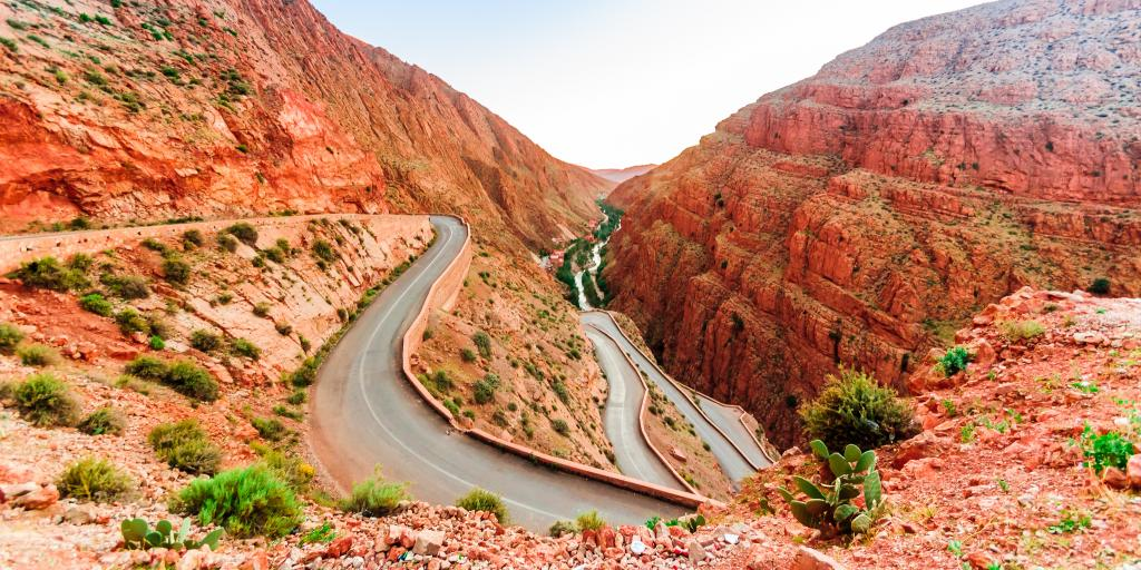 View of the narrow zig zag road through the Dades Gorge in Morocco