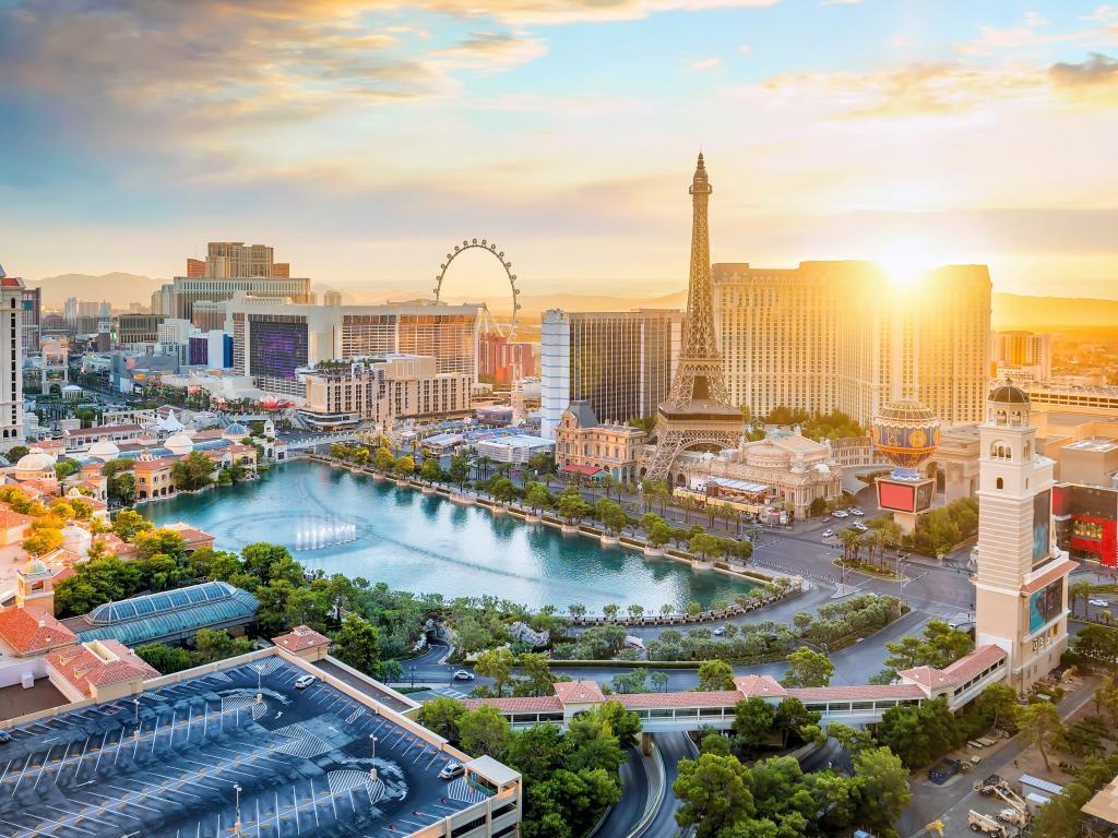 Las Vegas hotels along the Strip at sunrise