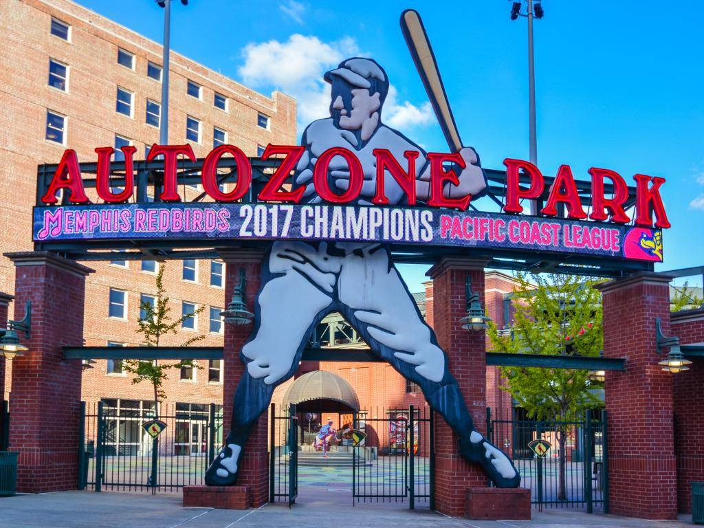 Main entrance to the Autozone Park baseball stadium - home to the Memphis Redbirds