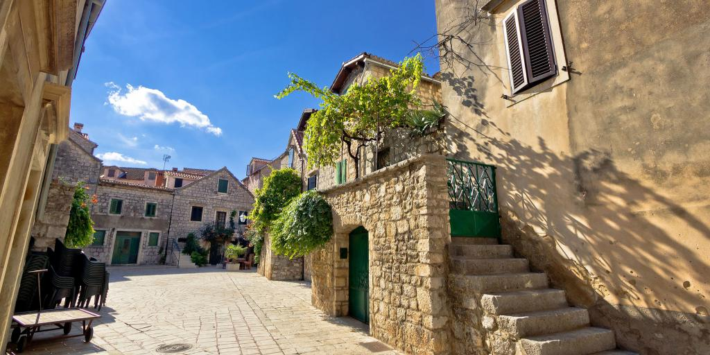 Old stone streets of Stari Grad in Hvar, Croatia