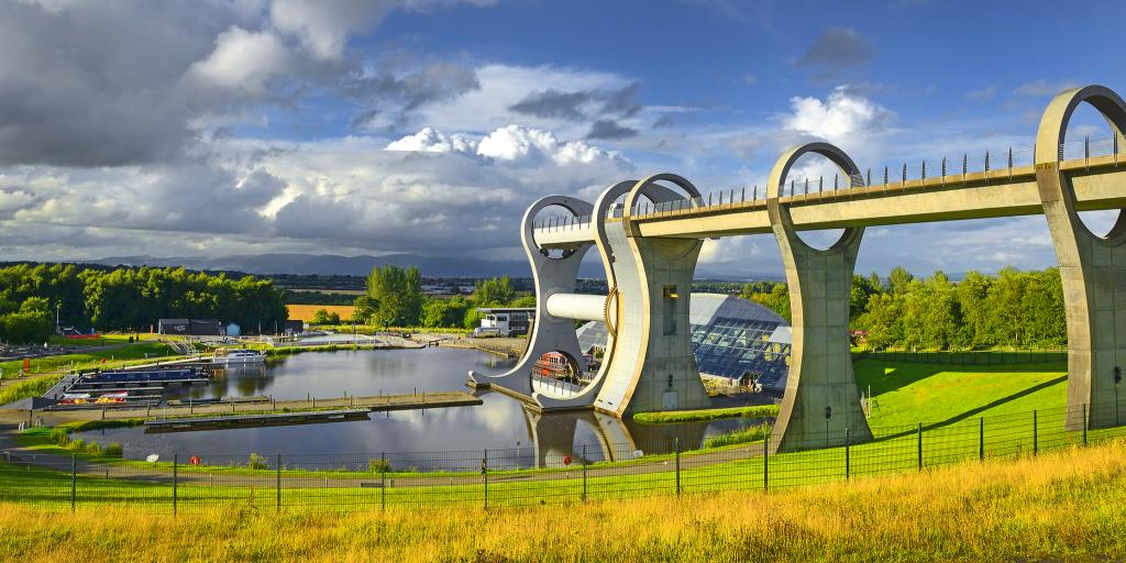 The Falkirk Wheel, the only rotating boat lift in the world, on a sunny day in Scotland