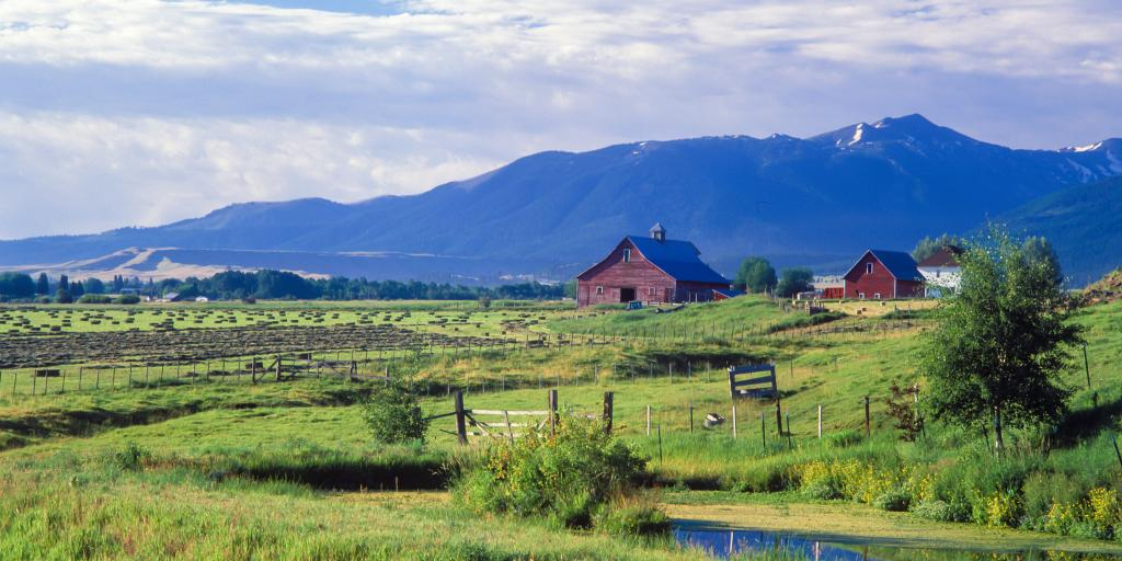 A farm near Joseph, Oregon with the Wallowa Mountains in the background