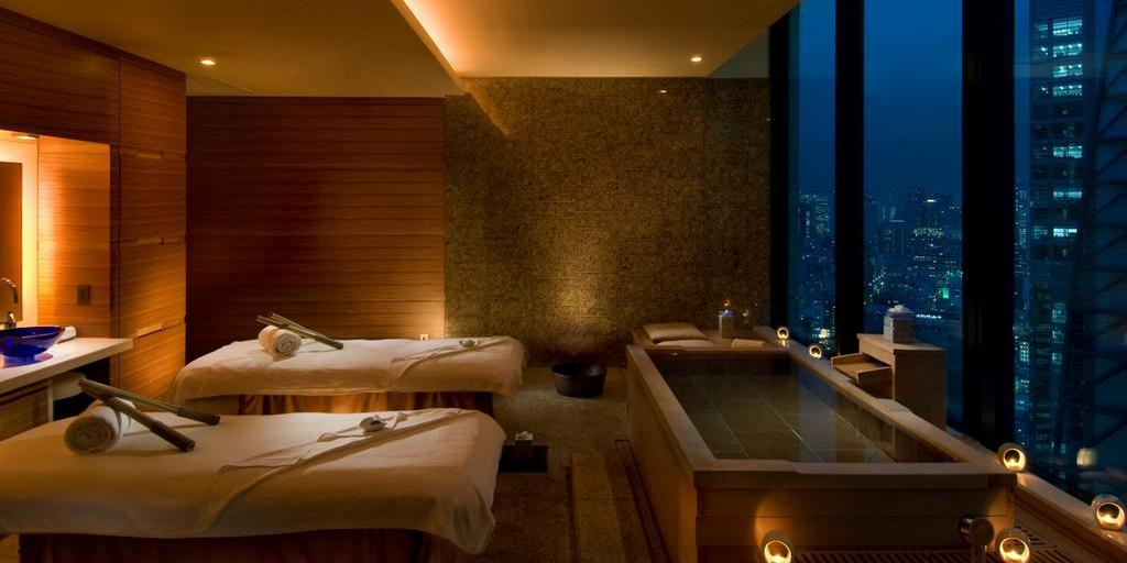 Luxurious spa in Conrad Tokyo hotel overlooking the city