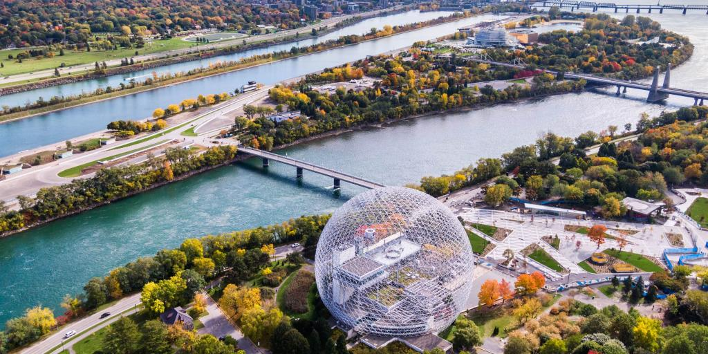 Aerial view of Montreal showing the Biosphere Environment Museum and Saint Lawrence River during Fall season