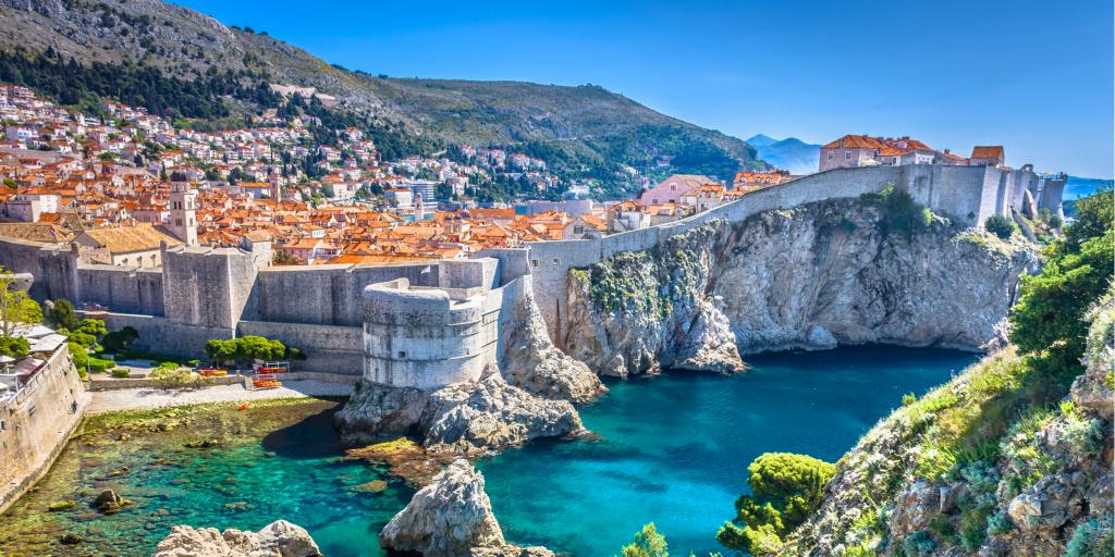 Aerial view of city walls along the waterfront in Dubrovnik, Croatia