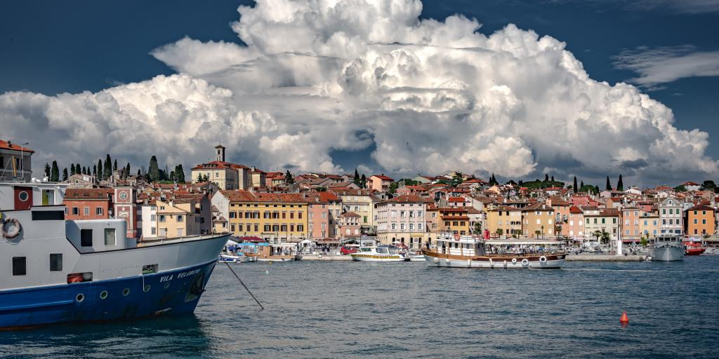 Clouds billow over the seaside town of Rovinj, Croatia, on the Istrian peninsula