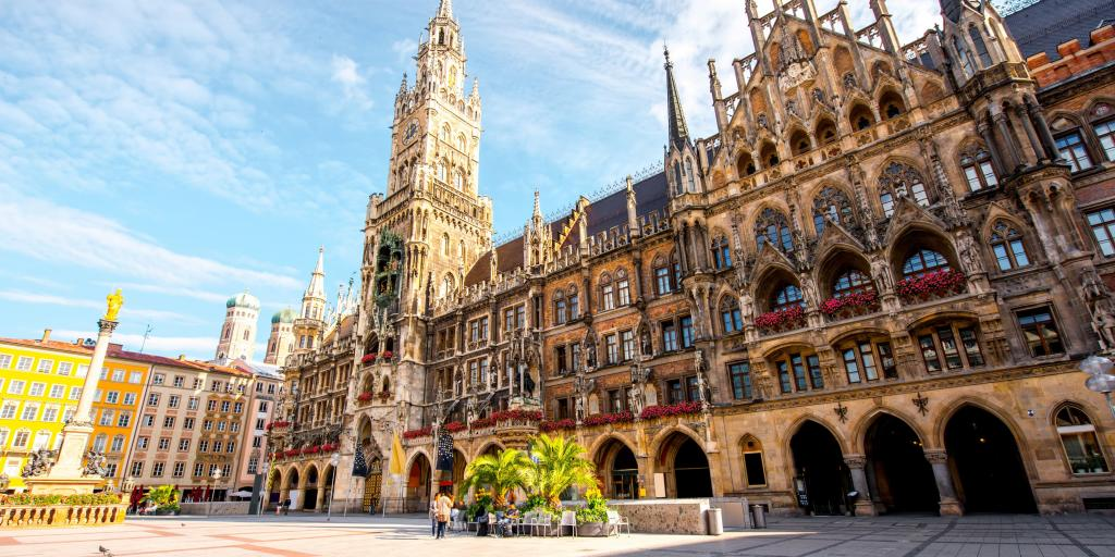 The ornate main town hall with clock tower on Marienplatz in Munich, Germany, on a sunny day