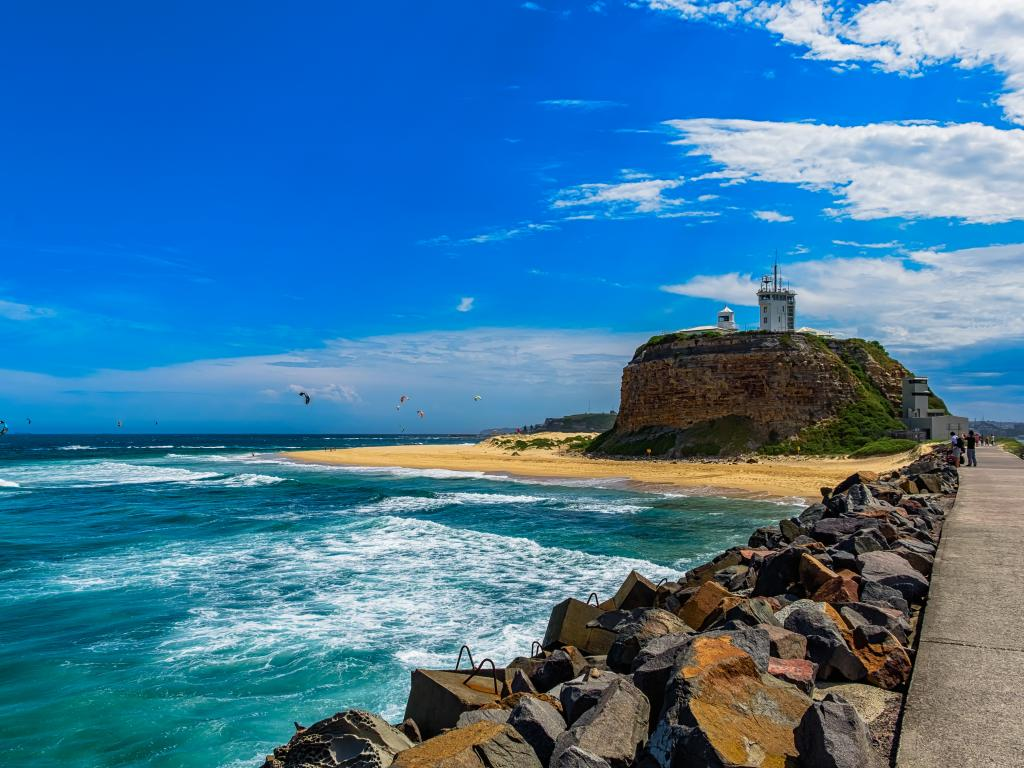Nobbys Beach and Nobbys Lighthouse in Newcastle, New South Wales, Australia