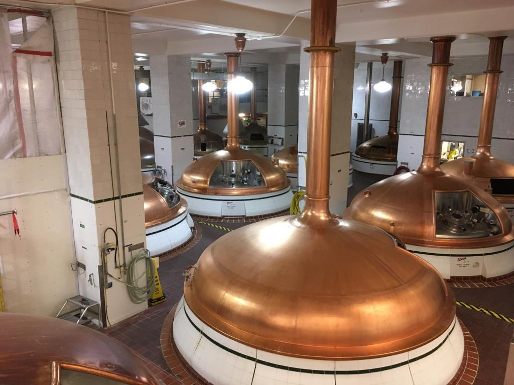 Copper fermentation tanks at the Coors Miller Brewery in Denver, Colorado