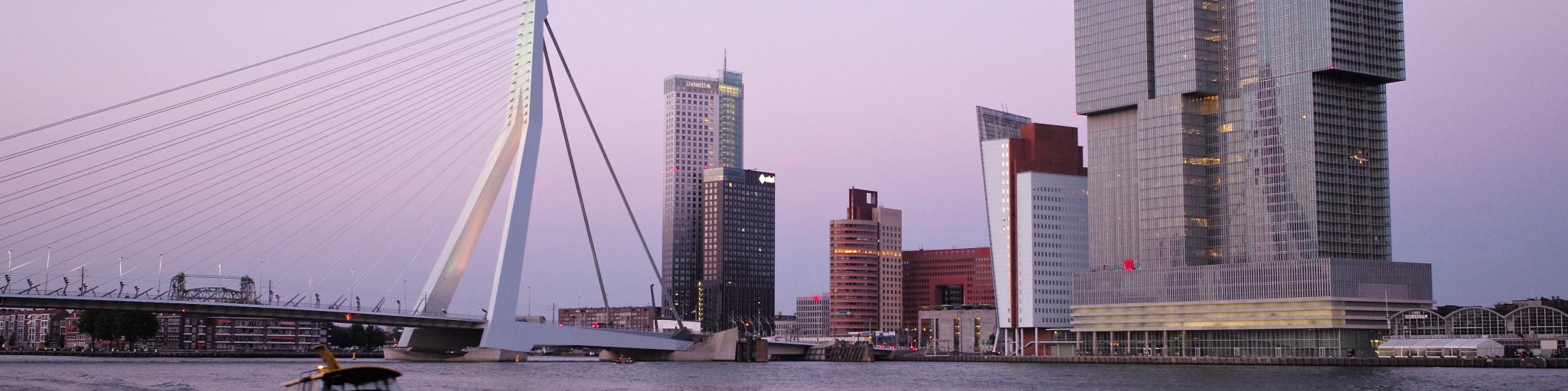 Pink skies and the distinctive Erasmusbrug Bridge in Rotterdam