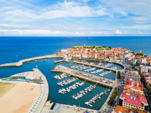Northern Spain road trip through Gijon port harbour
