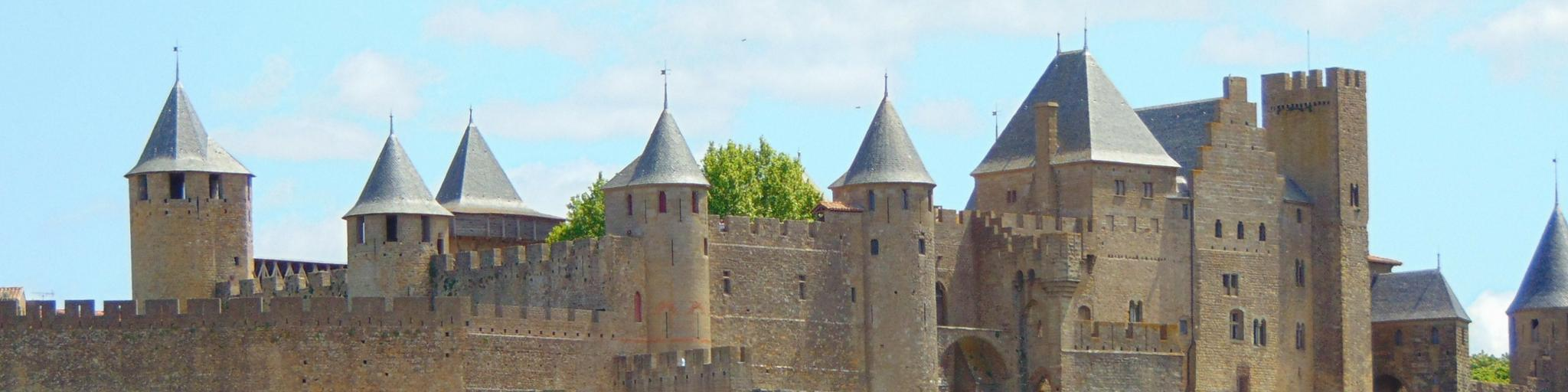 A view of the old city of Carcassonne on a sunny day, with townhouses below it.