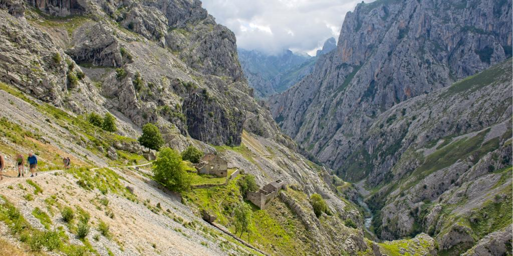 People walk along the Ruta del Cares in Picos de Europa park