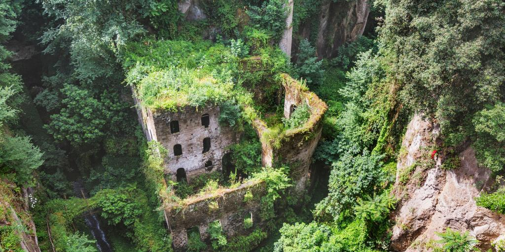 Moss covered building in Valley of the Mills, Sorrento