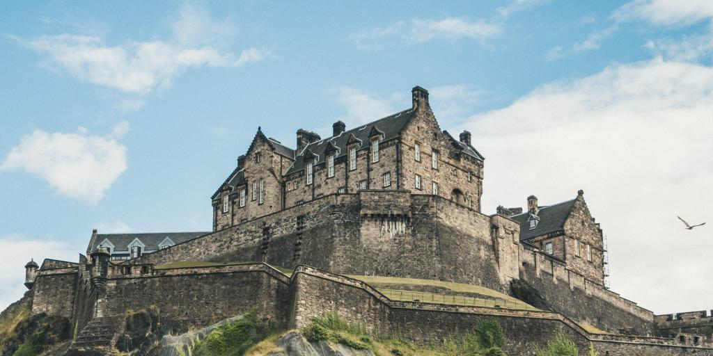 Looking up at Edinburgh Castle on a sunny day