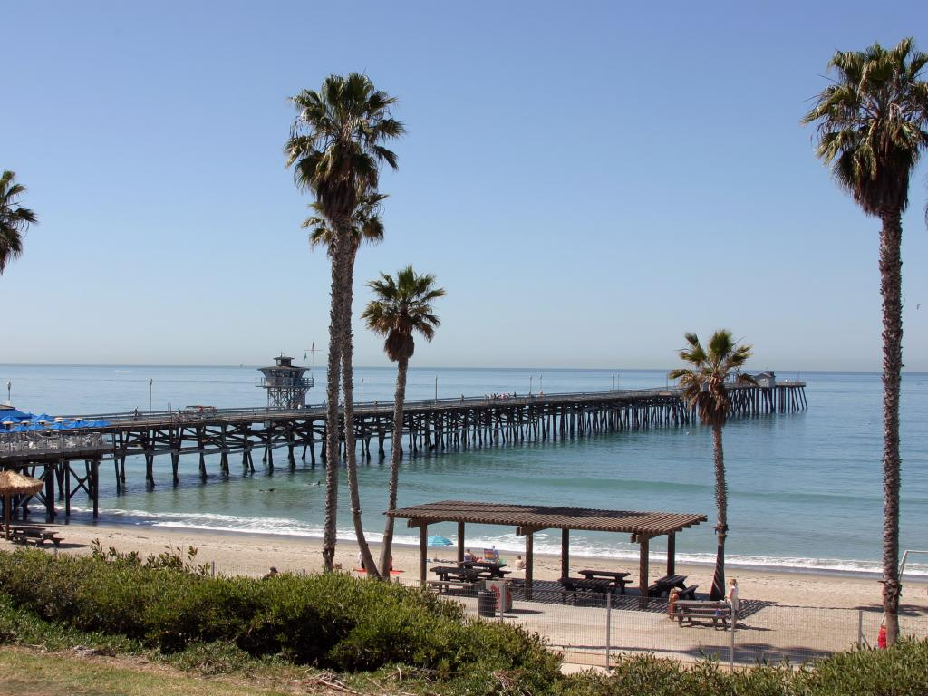 San Clemente Pier stretching out into the sea off the California coast with a palm tree lined beach.