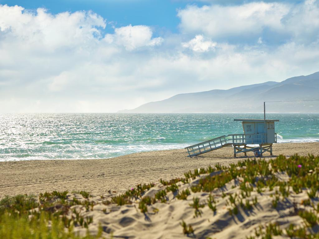 Lifeguard hut on a pristine beach in Malibu, California