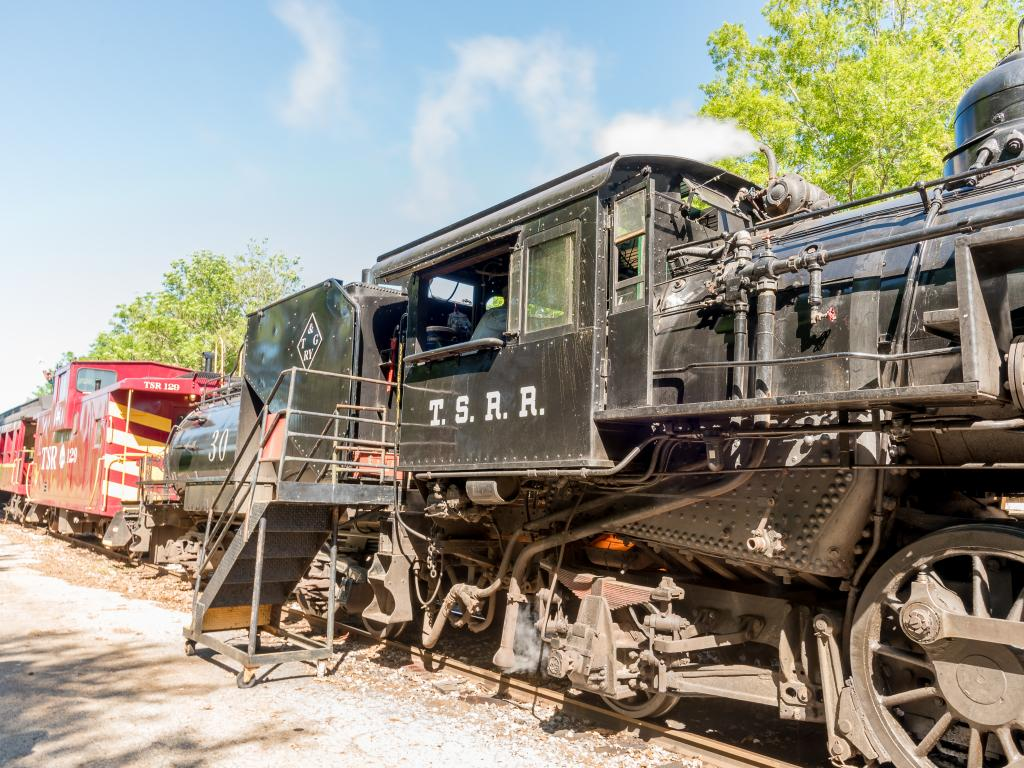 The steam engine of a train that is part of the Texas State Railroad in Palestine, Texas
