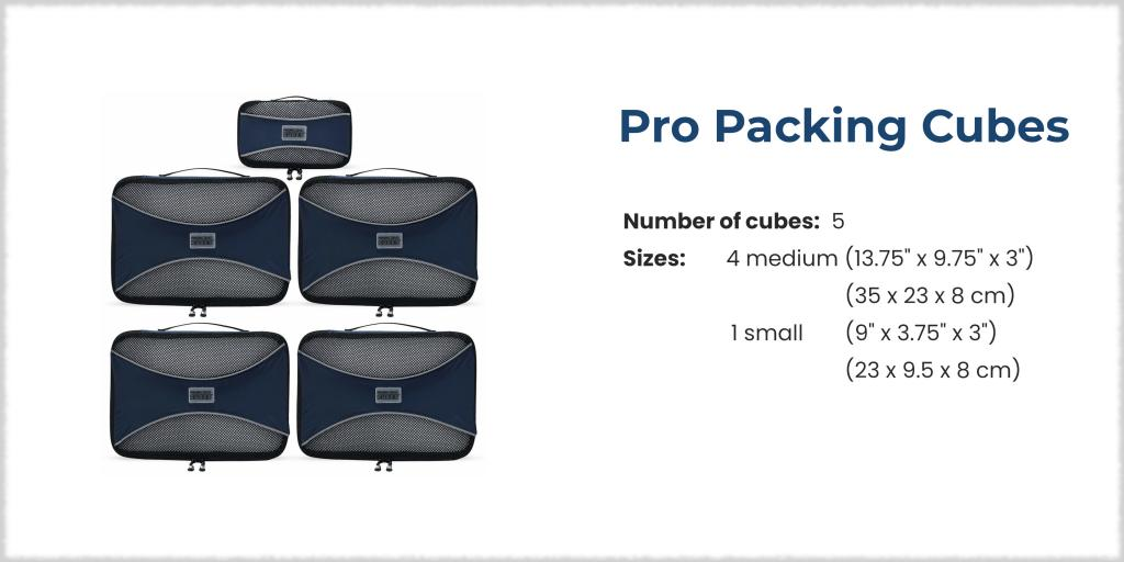 Pro Packing Cubes - 5 piece set is perfect for a road trip