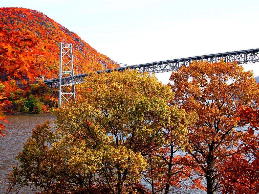 Bear mountain bridge in autumn, New York