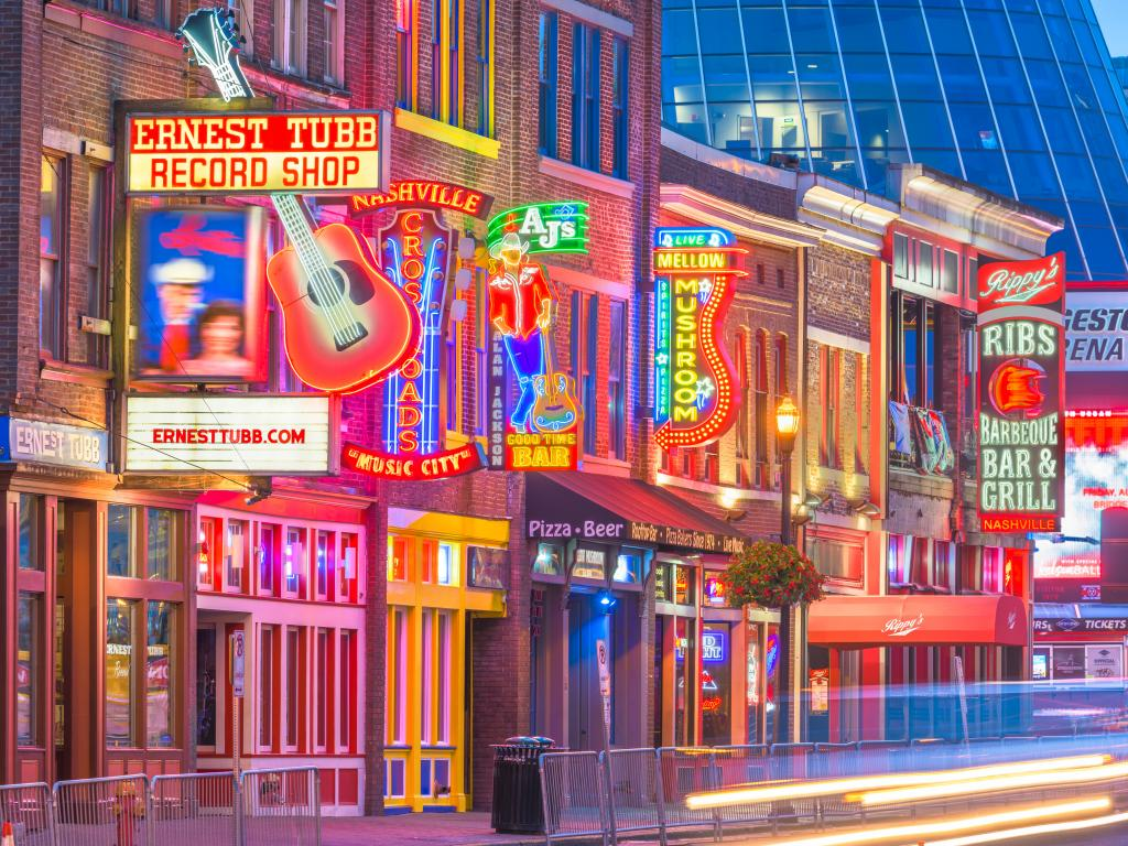 Country music bars along the Honky Tonk Highway on Lower Broadway in Nashville