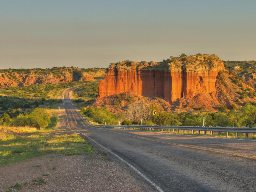 Texas Highway 207 winds its way through Palo Duro Canyon in the Texas Panhandle near Amarillo