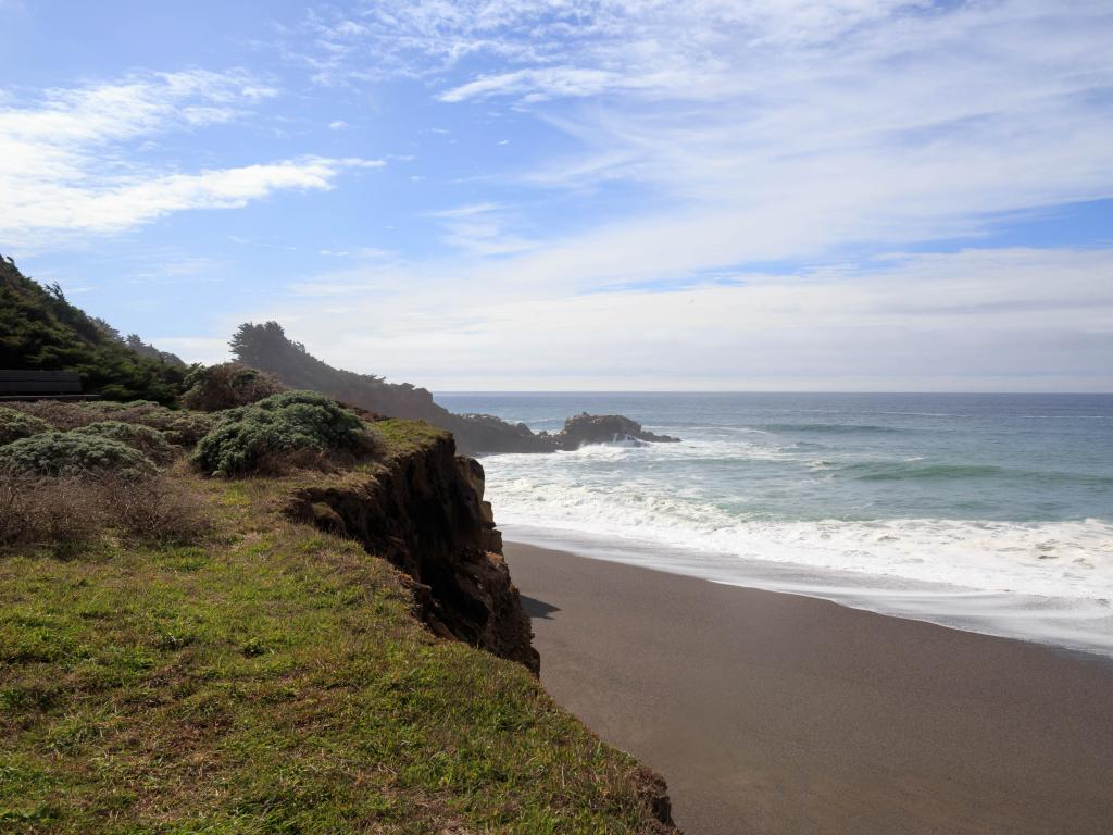 Empty wild beach at Gualala in Mendocino County, California