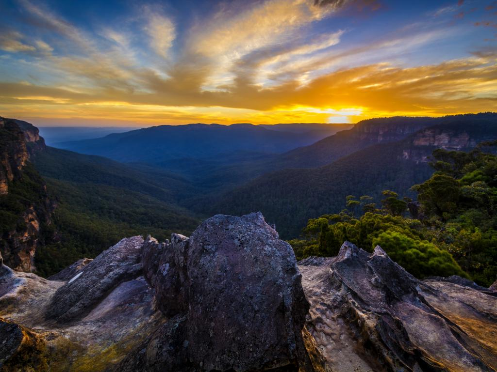 Mountains and forests of the Blue Mountains National Park in Australia's New South Wales at Sunset