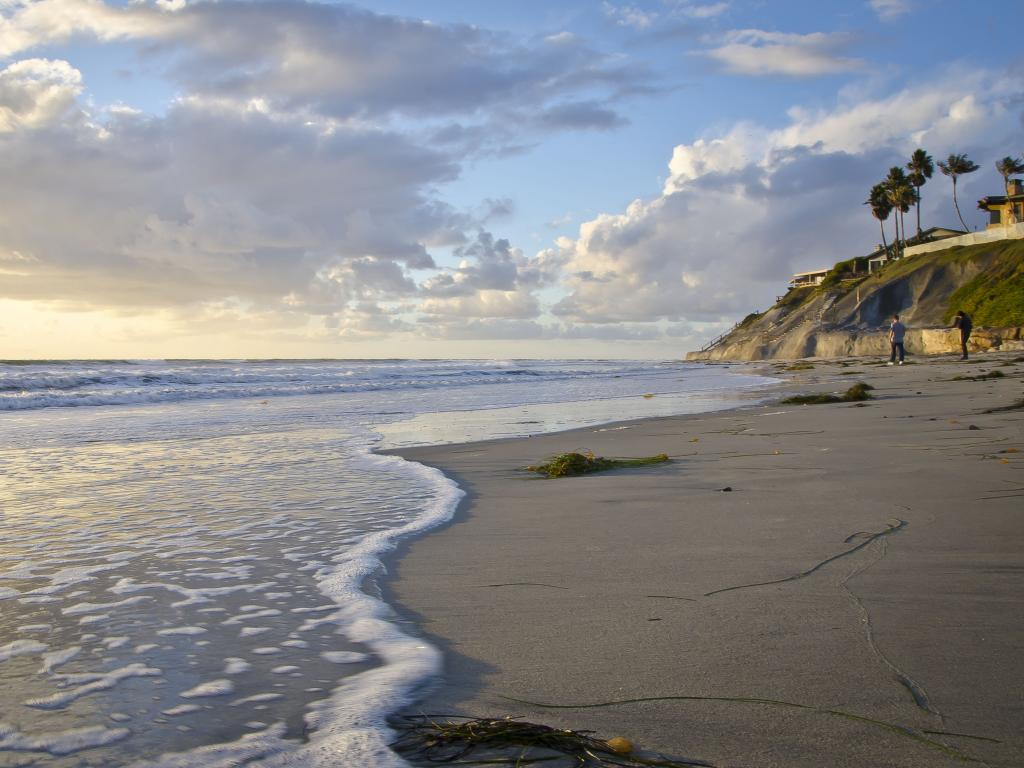 Carlsbad State Beach in the evening light in Carlsbad, California