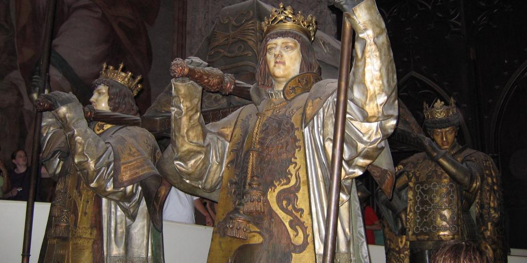 The statues of four kings carry the tomb of Christopher Columbus inside Seville Cathedral