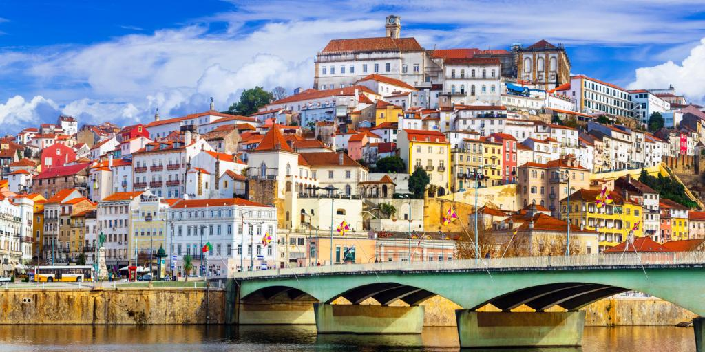 Colourful buildings and the river, Coimbra