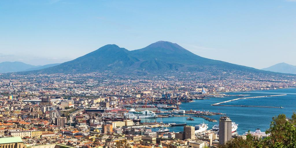 Mount Vesuvius in the distance with Naples, Italy