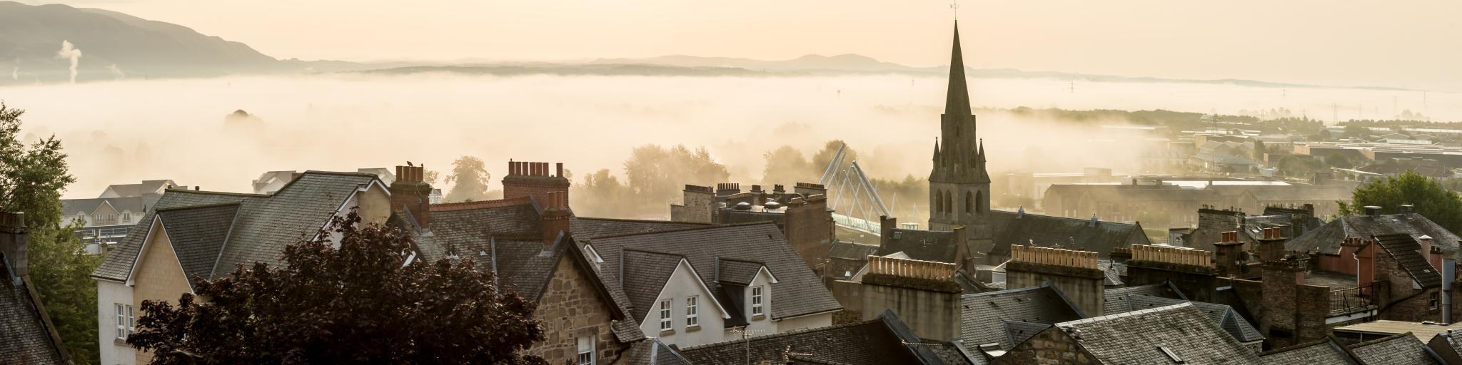 Day trip from Edinburgh to Stirling, Scotland - morning haze