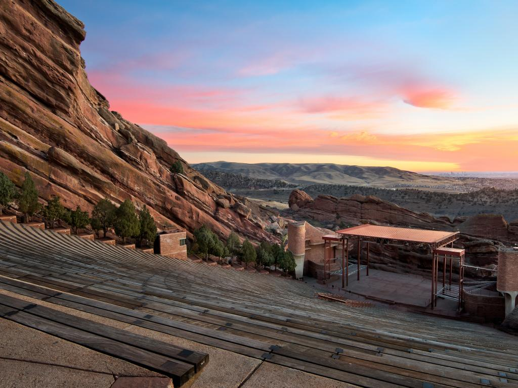 Red Rocks Park Amphitheatre stage at sunrise in Denver, Colorado