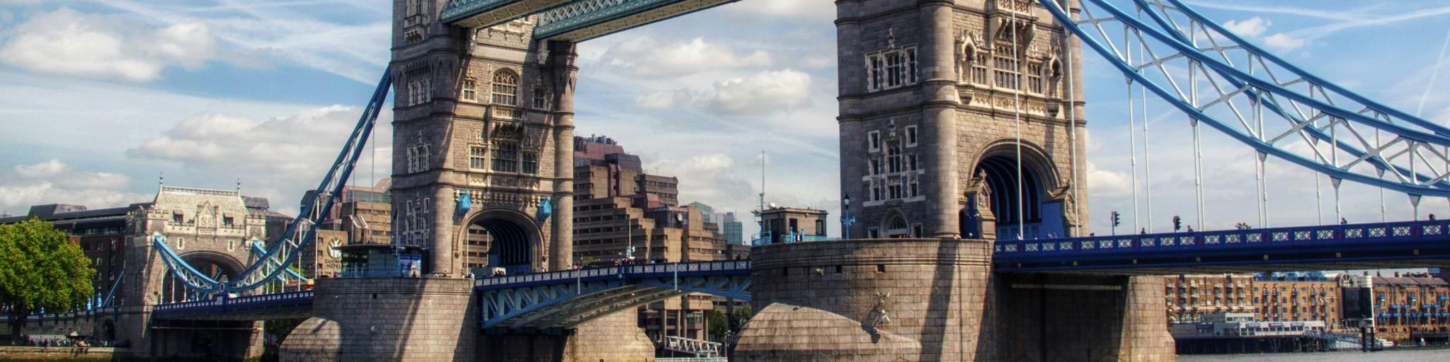 The iconic Tower Bridge is a regal London landmark that crosses the River Thames
