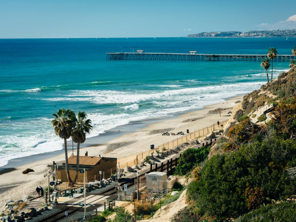 The beach and pier in San Clemente, California