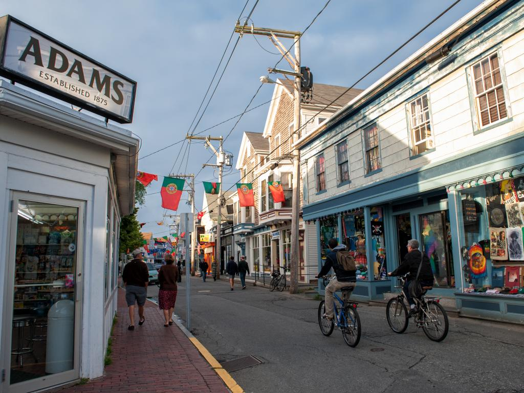 Traditional houses along Commercial Street in Provincetown on Cape Cod, Massachusetts.