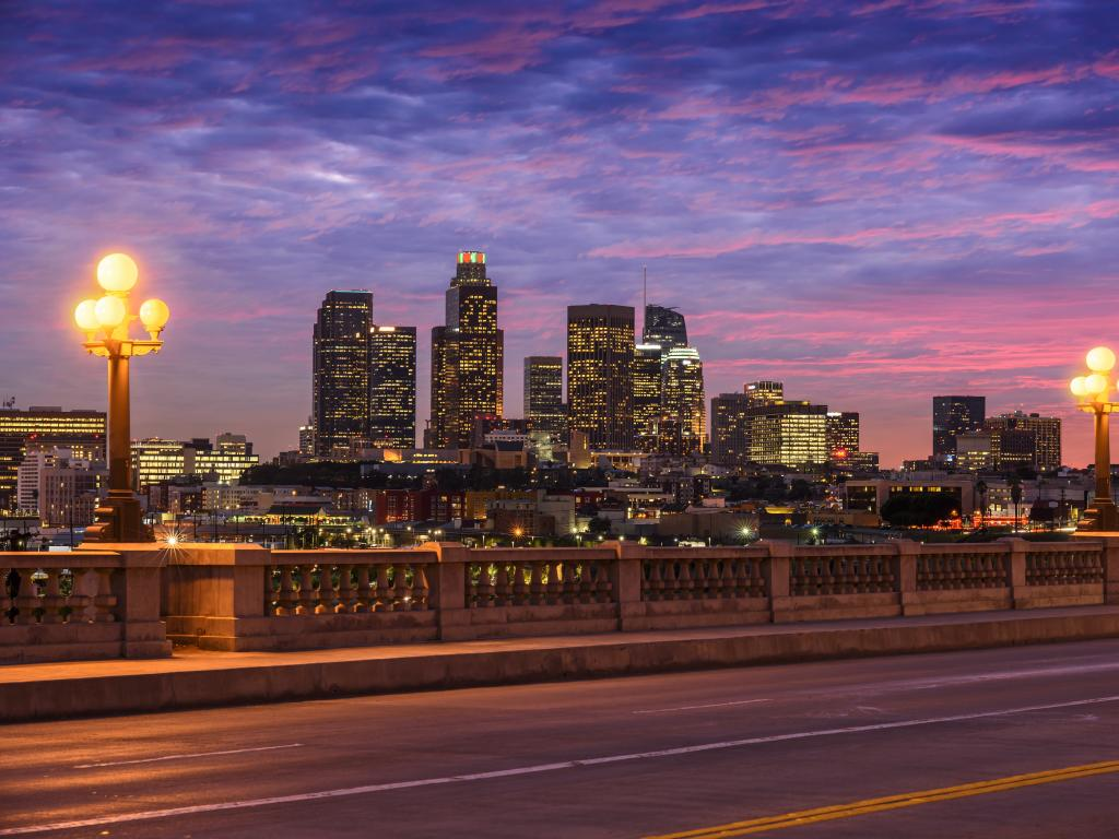 Evening shot of Downtown Los Angeles, California