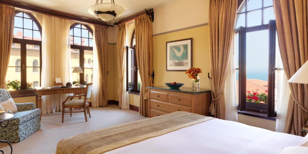 A bedroom at the Four Seasons at Sultanahmet hotel in Istanbul, Turkey