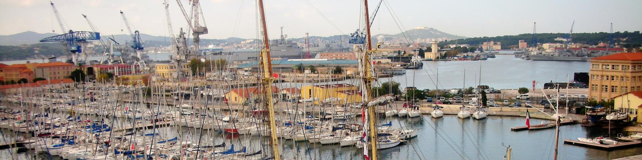 Boats in the harbour of Toulon in France