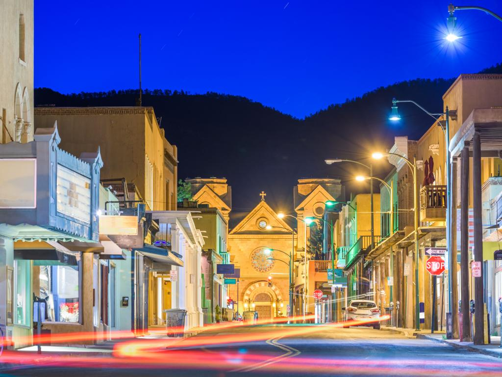 The quaint downtown of Santa Fe, New Mexico at night.