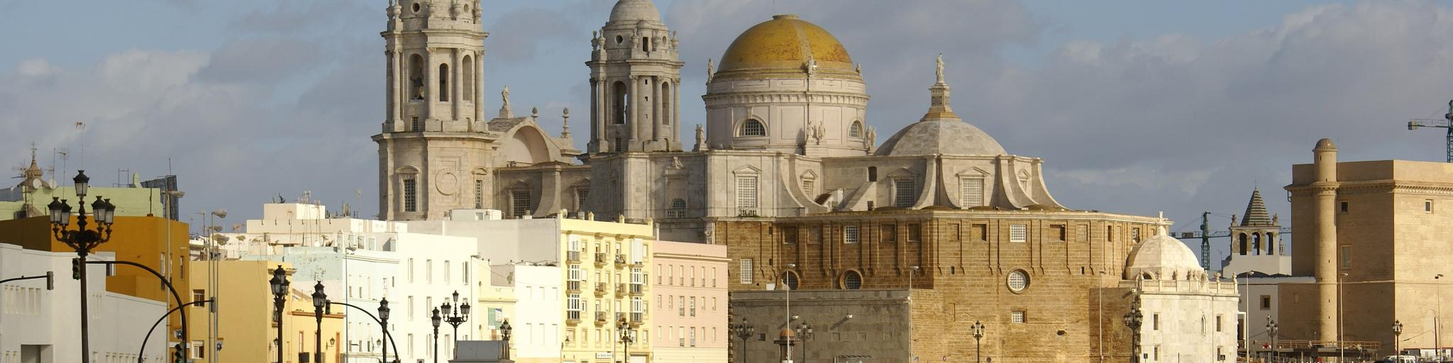 The imposing Cadiz Cathedral (Catedral de Cadiz) and its distinctive gold dome and bell tower