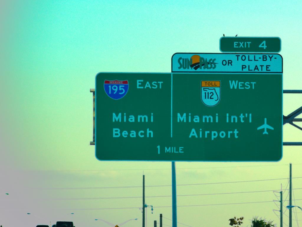 An image that shows a green sign post of Miami International Airport and another one shows Miami Beach