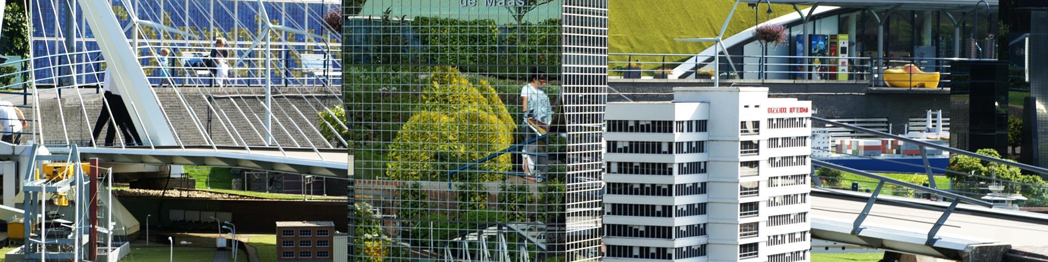 Miniature replicas of city buildings, bridges and railways draw visitors to the Hague's Madurodam park