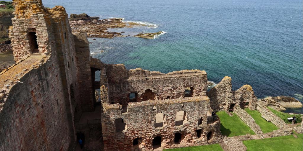 The semi-ruined Tantallon Castle sits on Bass Rock near North Berwick in Scotland