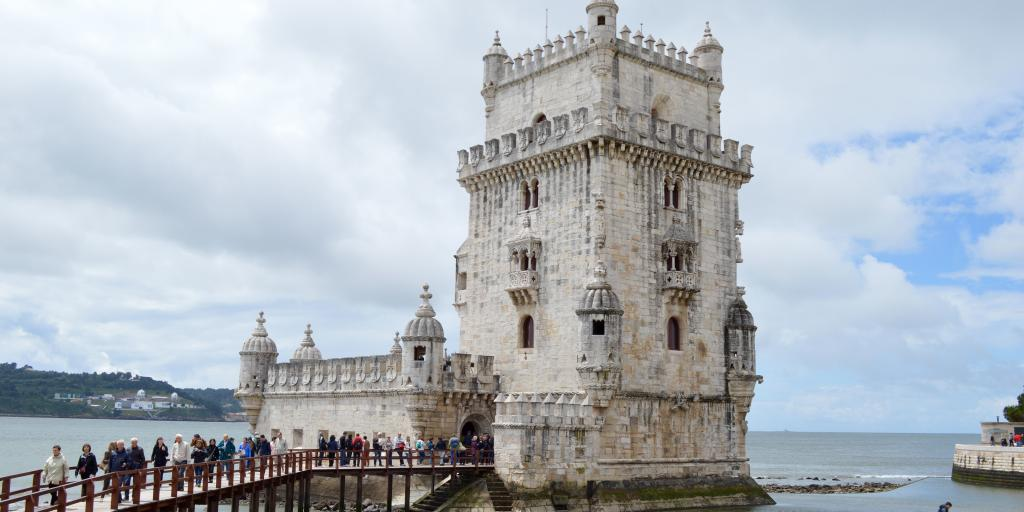 The 16th-century Belem Tower sits on the north bank of the Tagus